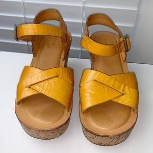 KORK EASE | Patent Ava Yellow Cork Wedge Sandal 6